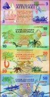 SET Cook Islands, $3;10;20;50 1992, AAA Prefix, P-7-8-9-10, UNC - Cook