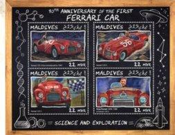 Maldives 2017  - 70e Anniversaire De La Premiere FERRARI  -  Enzo-125S   -  4v  Feuillet  -  Neuf/Mint/MNH - Voitures