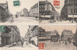 4 CPA:AMIENS (80) TRAMWAY RUE JULES BARNI,GRAND CAFÉ DUFOURMANTELLE RUE DES TROIS CAILLOUX,TRAMWAY PLACE GAMBETTA.. - Amiens