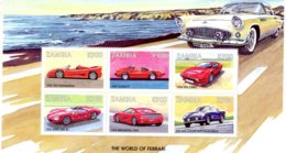 Zambia  -  FERRARI Cars  -  750-312T2-Dino 368SP-F355-250GTE  -  6v  Feuillet  -  Neuf/Mint/MNH - Voitures