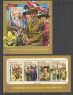 CA127 2016 CENTRAL AFRICA CENTRAFRICAINE ORGANIZATIONS SCOUTING ROBERT BADEN-POWELL 1KB+1BL MNH - Other