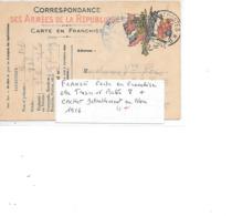 FRANCE CARTE EN FRANCHISE OBL TRESOR ET POSTE 8 + CACHET DETTACHEMENT 1916 - Guerres