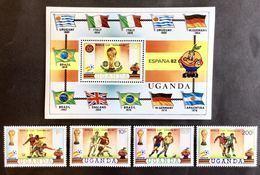 #Uganda 1981** Mi.310-13 + Bl.30. World Cup '82,MNH [20;11] - World Cup
