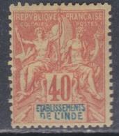 Inde N° 10  X Type Groupe :  40 C. Rouge-orange,   Trace De  Charnière Sinon  TB - Indien (1892-1954)