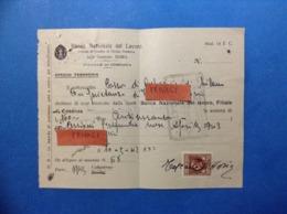 REGNO MARCA DA BOLLO LIRE UNA SU MOD 14 T C BANCA NAZIONALE DE LAVORO DEL 1942 - Documenti Storici