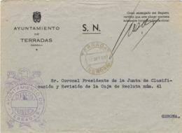 34127. Carta S.N. Franquicia Ayuntamiento TERRADAS (Gerona) 1959. Fechador Terradas - 1931-Hoy: 2ª República - ... Juan Carlos I