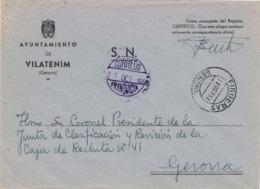 34128. Carta S.N. Franquicia Ayuntamiento VILATENIM (Gerona) 1959. Fechador Transito Figueras - 1931-Hoy: 2ª República - ... Juan Carlos I