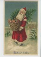 """ENFANTS - Jolie Carte Fantaisie Gaufrée Père Noël Avec Jouets Dans La Neige  De """"Heureux Noël """" (embossed Postcard) - Noël"""
