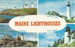 """CP Des Etats Unis """" Les PHARES Du MAINE - MAINE LIGHTHOUSES """" (Années """"70"""") - Etats-Unis"""