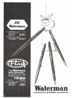 "PUB STYLO Et STYLO PLUMES "" WATERMAN  ""  1962 ( 27 ) - Pens"