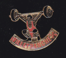 60124-Pin's Halterophilie.Villefranche Sur Saone.signé Calao. - Haltérophilie
