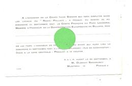"""PRAGUE 1967- Locaux Du """" Radio-Palace""""- Invitation Dîner Organisé Par Le Comité François Du Parc Locmaria - Billard (jm) - Biljart"""