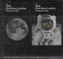 USA, 2019, MNH, SPACE, MOON LANDING, 2v - North  America