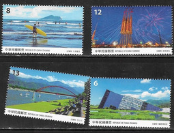 TAIWAN,  2019, MNH, YILAN COUNTY, BRIDGES, MOUNTAINS, BOATS, FIREWORKS, BEACHES, SURFING,  4v - Bridges