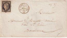 """FRANCE : N° 3 . OBL GRILLE ET CAD T 15 . """" ST ANDRE DE CUBZAC """" . (32) . TB . SIGNE BAUDOT . 1850 . - Marcophilie (Lettres)"""