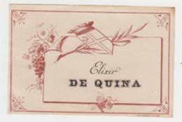 BB917 - Etiquette Ancienne ELIXIR DE QUINA - Otras Botellas