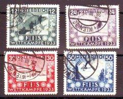 Autriche N° 426 à 429 Obl Cote 500 Euros FIS Wettkampfe 1933 , Osterreich , Ostria ( Charniere ) - 1918-1945 1ère République