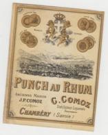 BB920 - Etiquette Ancienne PUNCH AU RHUM - C.COMOZ - CHAMBERY - Andere Verzamelingen