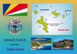 1 AK Seychellen * Flagge, Wappen, Landkarte Der Seychellen - Und 2 Ansichten Der Insel Grande Soeur * - Seychellen