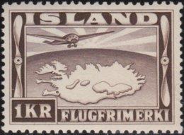 IJsland      .    Yvert       .   Lucht  19          .    **  .    Postfris ZONDER Plakker    .   /    .   MNH - Poste Aérienne
