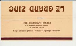 Emballage (aplati) Boite D'allumettes Publicité Café-Restaurant Le Grand Zinc 5 Rue Du Faubourg Montmartre Paris  CP-GF - Boites D'allumettes - Etiquettes
