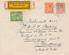 Nederland / Indië - 1926 - 15 Cent Luchtpost Op Vliegbrief Van Rotterdam Naar Marseille En Door Naar Bandoeng - Luchtpost