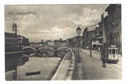 1028 - PISA LUNGARNO MEDICEO ANIMATA TRAM 1920 CIRCA - Pisa