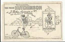 """BUVARD . """"  HUTCHINSON """"  VELO  . COMMENDEZ VOS PNEUS A J. POTIER LECORSIER . PARIS .CACHET"""" DOUCY . PEYRAT LA NONIERE """" - Moto & Vélo"""