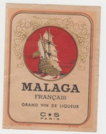 BB933 - Etiquette Ancienne MALAGA Français - Grand Vin De Liqueur - Andere Sammlungen