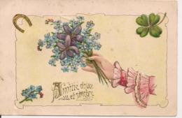 L80b263 - Amitié Douce Et Sincère - Main Tenant Un Bouquet  - Carte Précurseur Et Gauffrée - Fantaisies