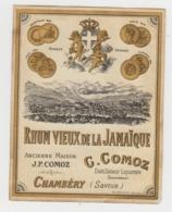 BB935 - Etiquette Ancienne RHUM VIEUX DE LA JAMAIQUE - C.COMOZ - Chambéry - Andere Sammlungen