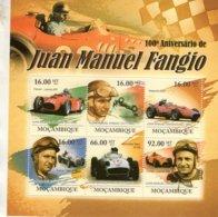 Mocambique 2011 - 100e Anniversaire De JUAN MANUEL FANGIO   -  6v  Feuillet  -  Neuf/Mint/MNH - Automobile