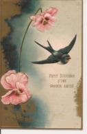 L80b267 - Petit Souvenir D'une Grande Amitié  - Fleur Et Hirondelle - Carte Gauffrée - Fancy Cards