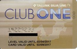 ESTONIA KEY CABIN   Club One  -     Tallink (Shipping Company) - Cartes D'hotel