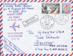 France Air Mail Par Avion Boing 707 Premiere Liason First Flight PARIS AVIATION 1962 Cover Lettre Semeuse Lignée - 1957-59 Mäherin