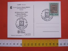 A.04 ITALIA RAVENNA - 2003 FRANCOBOLLO SU FRANCOBOLLO 6 BAI ROMAGNE MOSTRA FILATELICA STORIA POSTALE - Storia