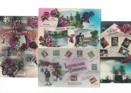 Lot De 8 Cartes Fantaisie Langage Des Timbres, Des Fleurs, Thermomètre De L'Amour CPA T Bon état Années 30 - Fantaisies