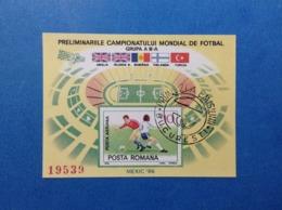 1985 ROMANIA POSTA ROMANA CAMPIONATI MONDIALI DI CALCIO MESSICO 86 MEXIC 10 L FOGLIETTO USATO SHEET USED - Usado