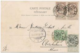 CARTE POSTALE 1899 AVEC 4 TIMBRES - 1893-1907 Armarios