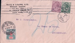 Afrique Du Sud,  Lettre Taxée En Suisse 25 Ct, Katz & Lourie, Cape Town - La Chaux De Fonds Suisse (5.4.22) - Südafrika (...-1961)