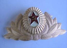 Fregio Metallico Vintage Per Berretto A Visiera Ufficiale Sovietico - Esercito