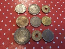 LOT DE 9 Pièces ESPAGNE - Münzen & Banknoten