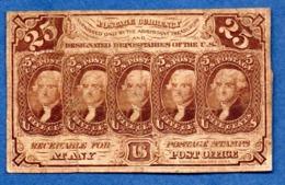 USA   -25 Cents 17/7/1862  -  Pick # 99  -  état   B+ - 1862 : 1. Ausgabe