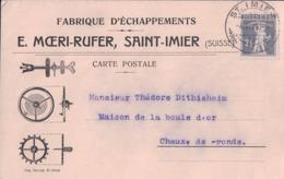 Suisse, Carte Avec Publicité, Fabrique D'Echappement E. Moeri-Rufer St Imier - Chaux De Fonds (4.6.20) - BE Berne
