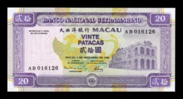 Macao Macau BNU 20 Patacas 1996 Pick 66 SC UNC - Macao