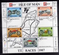 ISOLA DI MAN ISLE OF 1987 CAPEX 87 RACES SPORT BLOCK SHEET BLOCCO FOGLIETTO FIRST DAY SPECIAL CANCEL FDC - Isola Di Man