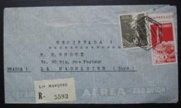 Mozambique Moçambique (Portugal) 1949 Posta Aera Lourenço Marques Registrada Recommandé La Madeleine Nord (France) - Mozambique