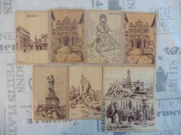 LOT  DE 8  CARTES  EN  BOIS - Cartes Postales