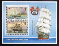 ISOLA DI MAN ISLE OF 1988 SAILING SHIP STAR OF INDIA BLOCK SHEET BLOCCO FOGLIETTO FIRST DAY SPECIAL CANCEL FDC - Isola Di Man