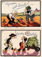 Illustrateur Signé J. DRAPZ Cigarettes Saint Michel 7 Cartes Numérotées De 1 à 7 - Autres Illustrateurs